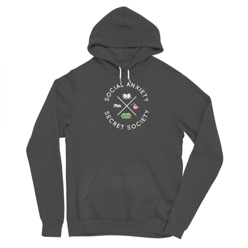 Social Anxiety Secret Society - Black Men's Sponge Fleece Pullover Hoody by agrimony // Aaron Thong