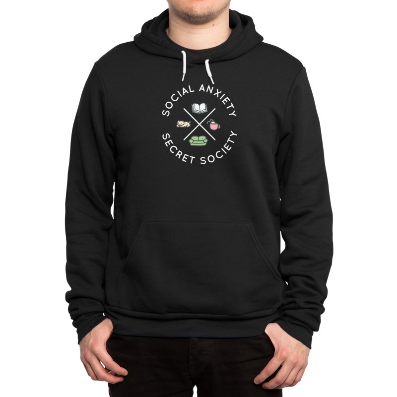 Social Anxiety Secret Society - Black Men's Pullover Hoody by agrimony // Aaron Thong