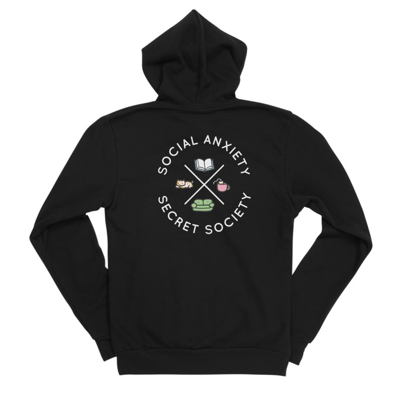 Social Anxiety Secret Society - Black Women's Sponge Fleece Zip-Up Hoody by agrimony // Aaron Thong