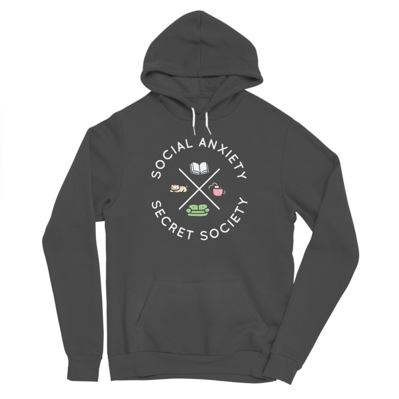Social Anxiety Secret Society - Black Women's Sponge Fleece Pullover Hoody by agrimony // Aaron Thong