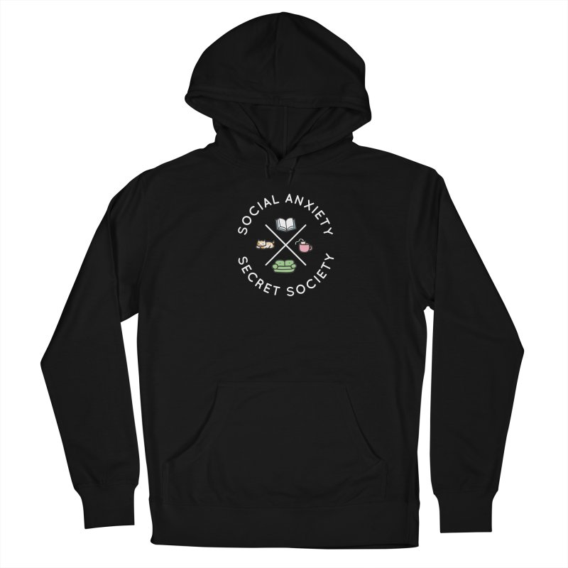 Social Anxiety Secret Society - Black Men's French Terry Pullover Hoody by agrimony // Aaron Thong