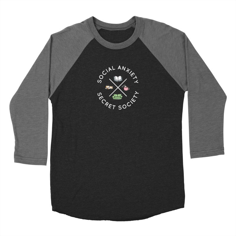 Social Anxiety Secret Society - Black Men's Baseball Triblend Longsleeve T-Shirt by agrimony // Aaron Thong
