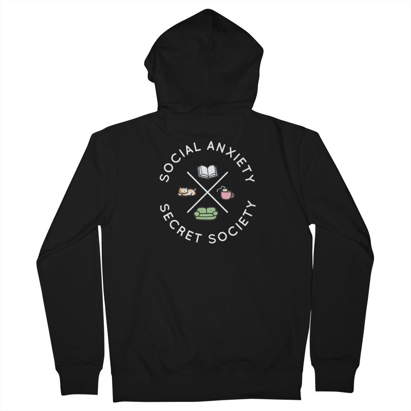 Social Anxiety Secret Society - Black Men's French Terry Zip-Up Hoody by agrimony // Aaron Thong
