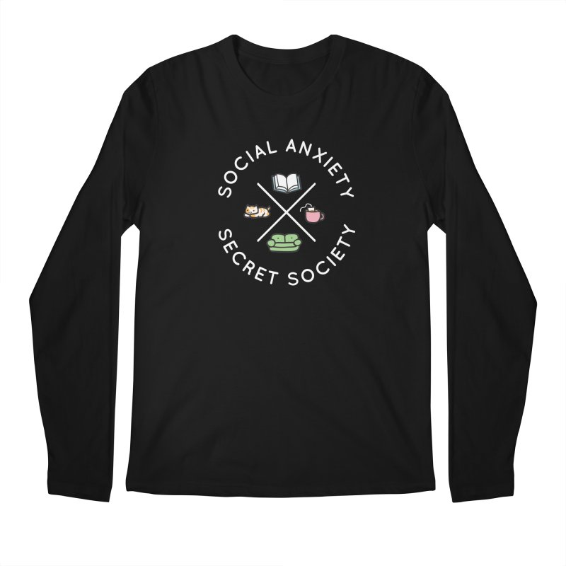 Social Anxiety Secret Society - Black Men's Regular Longsleeve T-Shirt by agrimony // Aaron Thong