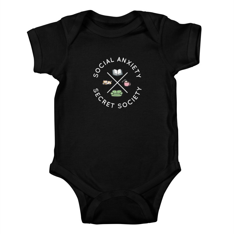 Social Anxiety Secret Society - Black Kids Baby Bodysuit by agrimony // Aaron Thong