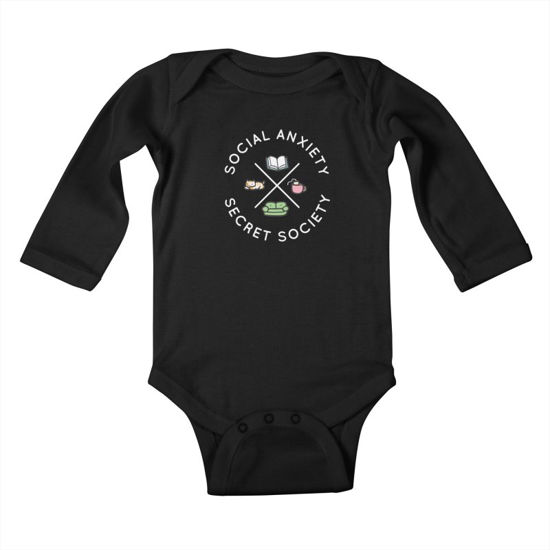 Social Anxiety Secret Society - Black Kids Baby Longsleeve Bodysuit by agrimony // Aaron Thong