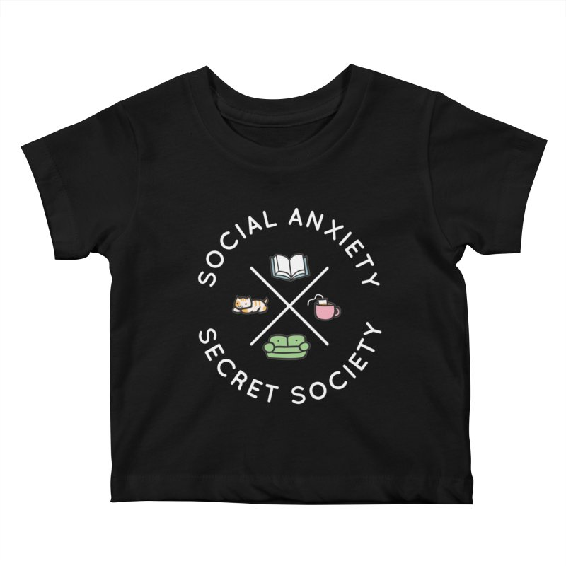 Social Anxiety Secret Society - Black Kids Baby T-Shirt by agrimony // Aaron Thong