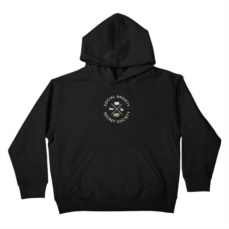 Social Anxiety Secret Society - Black Kids Pullover Hoody by agrimony // Aaron Thong