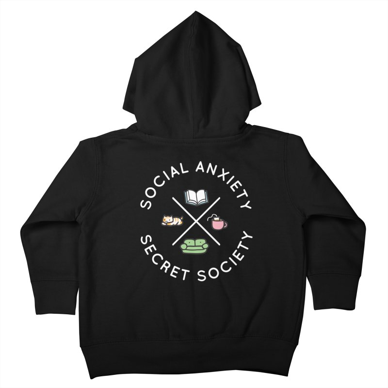 Social Anxiety Secret Society - Black Kids Toddler Zip-Up Hoody by agrimony // Aaron Thong