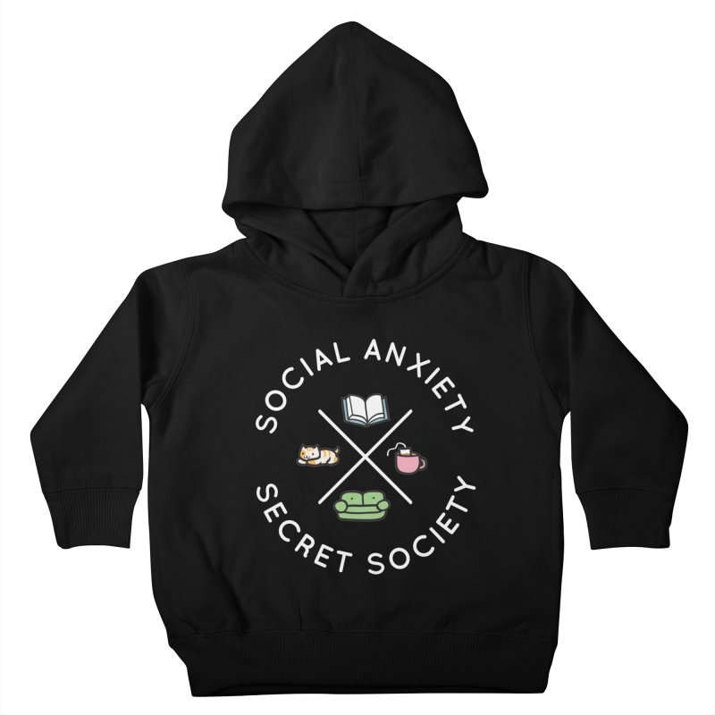 Social Anxiety Secret Society - Black Kids Toddler Pullover Hoody by agrimony // Aaron Thong