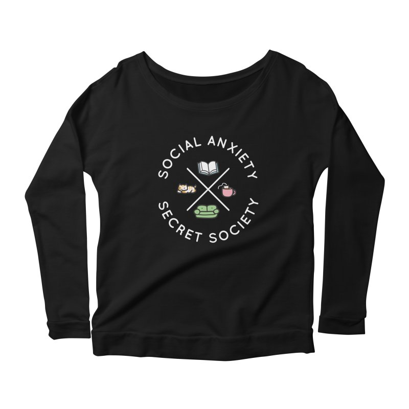 Social Anxiety Secret Society - Black Women's Scoop Neck Longsleeve T-Shirt by agrimony // Aaron Thong