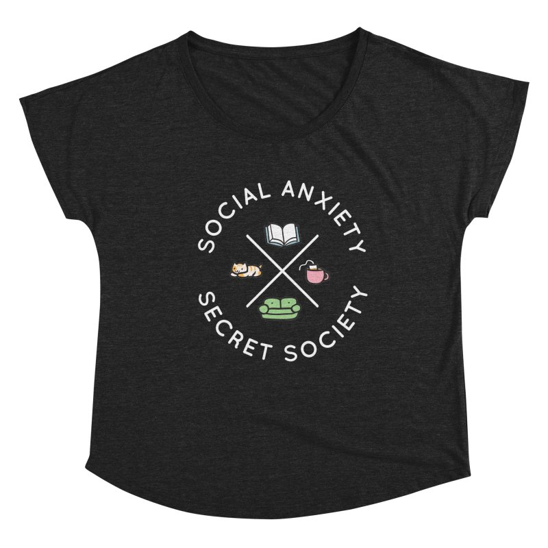 Social Anxiety Secret Society - Black Women's Dolman Scoop Neck by agrimony // Aaron Thong