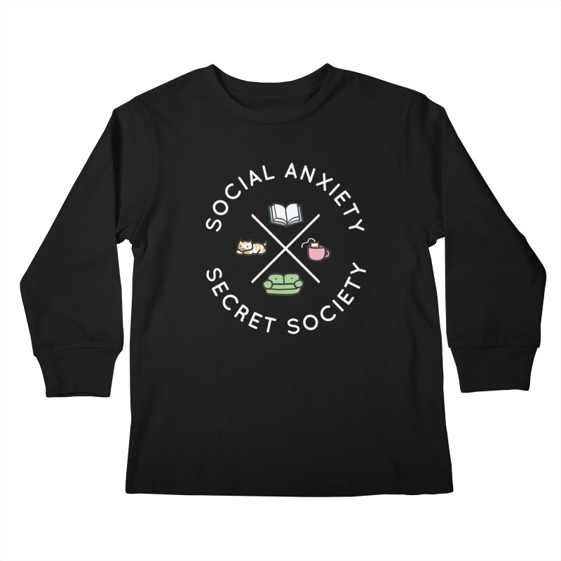 Social Anxiety Secret Society - Black Kids Longsleeve T-Shirt by agrimony // Aaron Thong