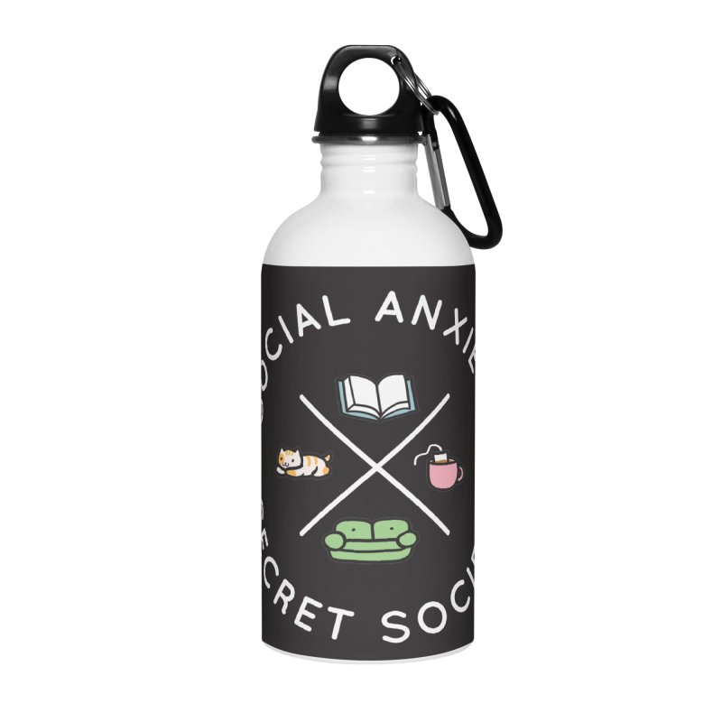 Social Anxiety Secret Society - Black Accessories Water Bottle by agrimony // Aaron Thong