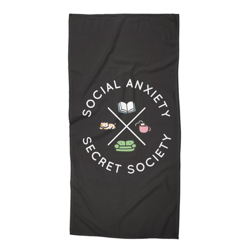 Social Anxiety Secret Society - Black Accessories Beach Towel by agrimony // Aaron Thong