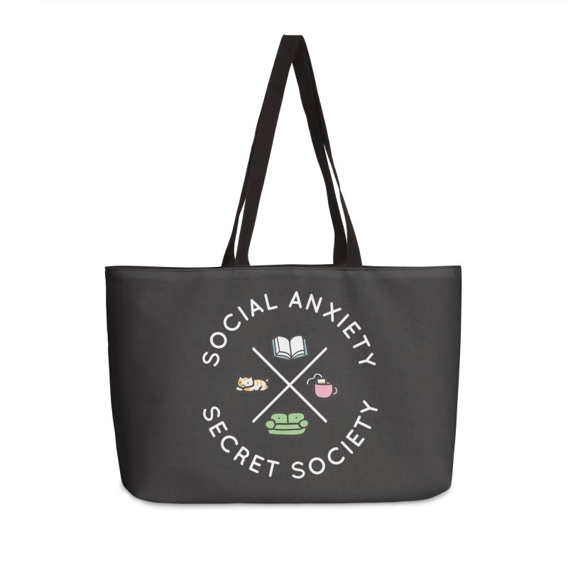 Social Anxiety Secret Society - Black Accessories Weekender Bag Bag by agrimony // Aaron Thong