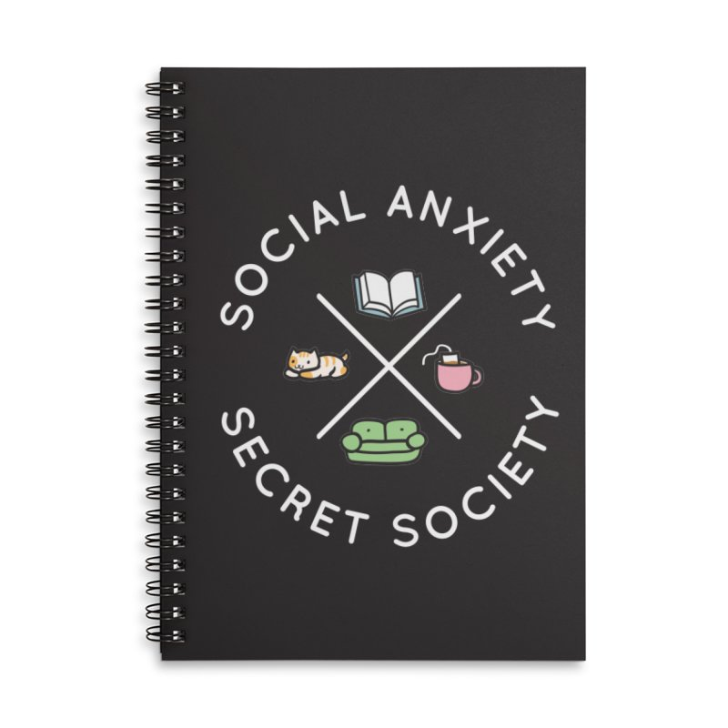 Social Anxiety Secret Society - Black Accessories Lined Spiral Notebook by agrimony // Aaron Thong