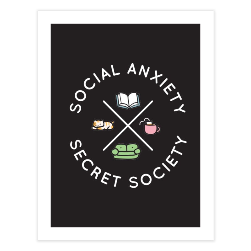 Social Anxiety Secret Society - Black Home Fine Art Print by agrimony // Aaron Thong