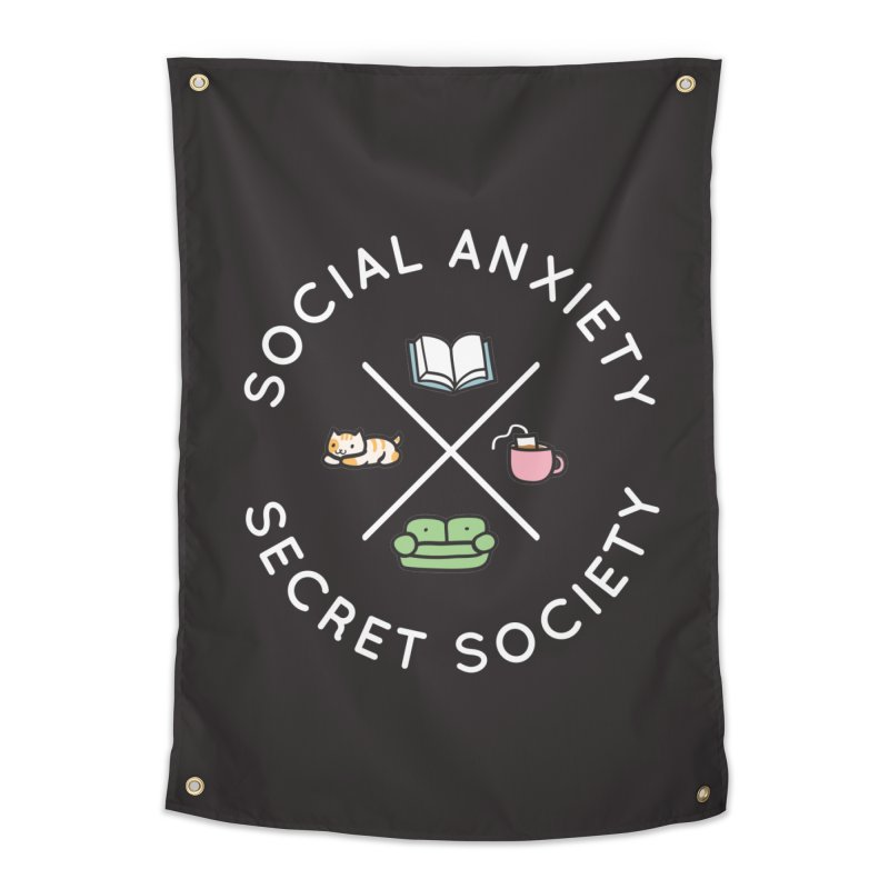 Social Anxiety Secret Society - Black Home Tapestry by agrimony // Aaron Thong