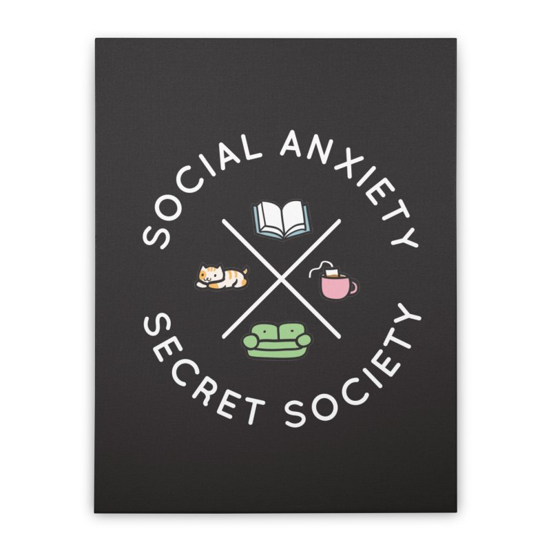 Social Anxiety Secret Society - Black Home Stretched Canvas by agrimony // Aaron Thong