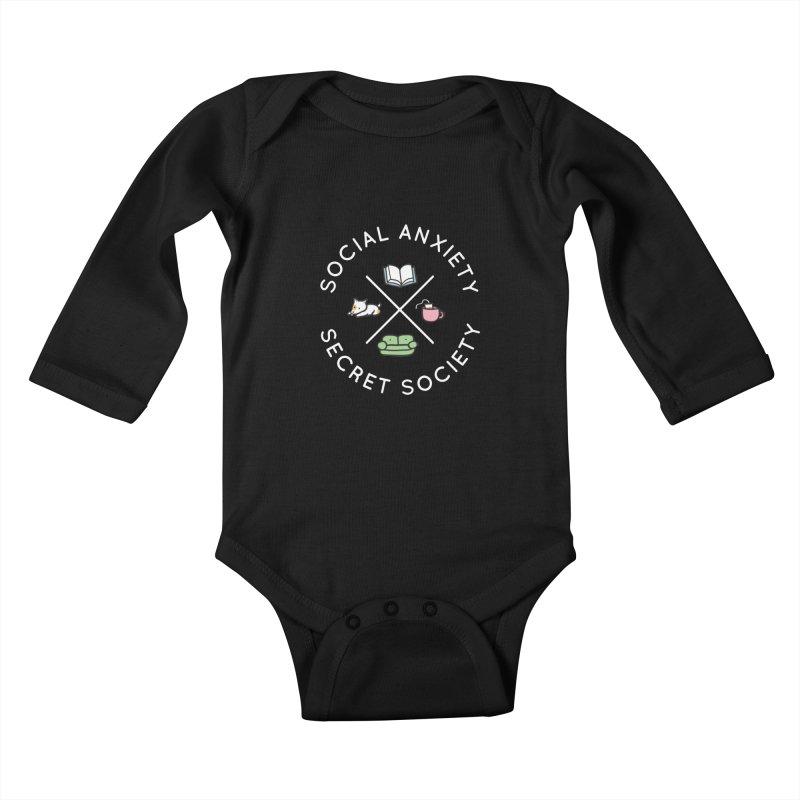 Social Anxiety Secret Society (Doggo) Kids Baby Longsleeve Bodysuit by agrimony // Aaron Thong