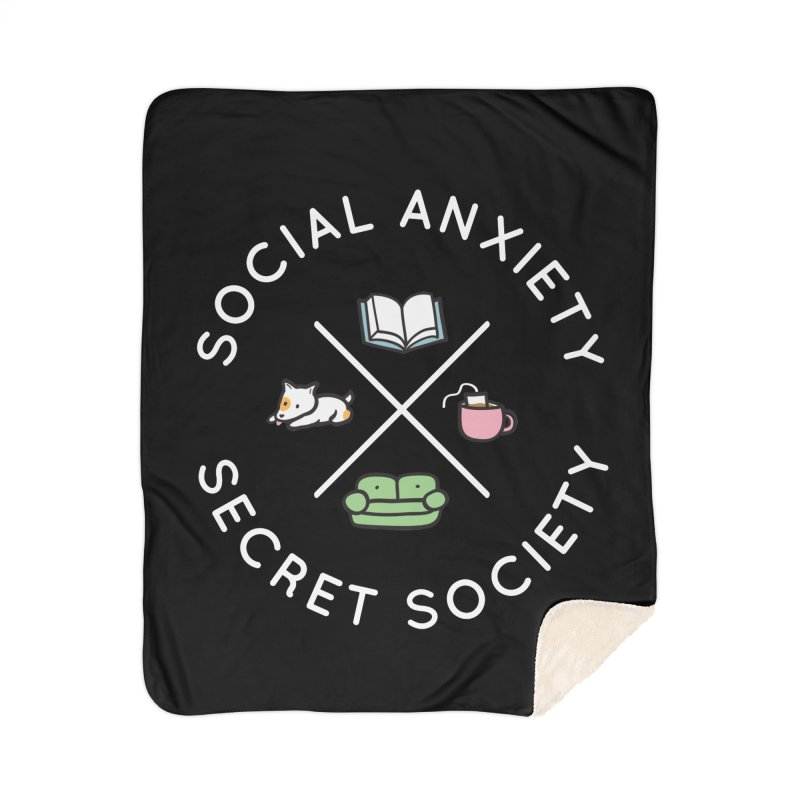 Social Anxiety Secret Society (Doggo) Home Sherpa Blanket Blanket by agrimony // Aaron Thong