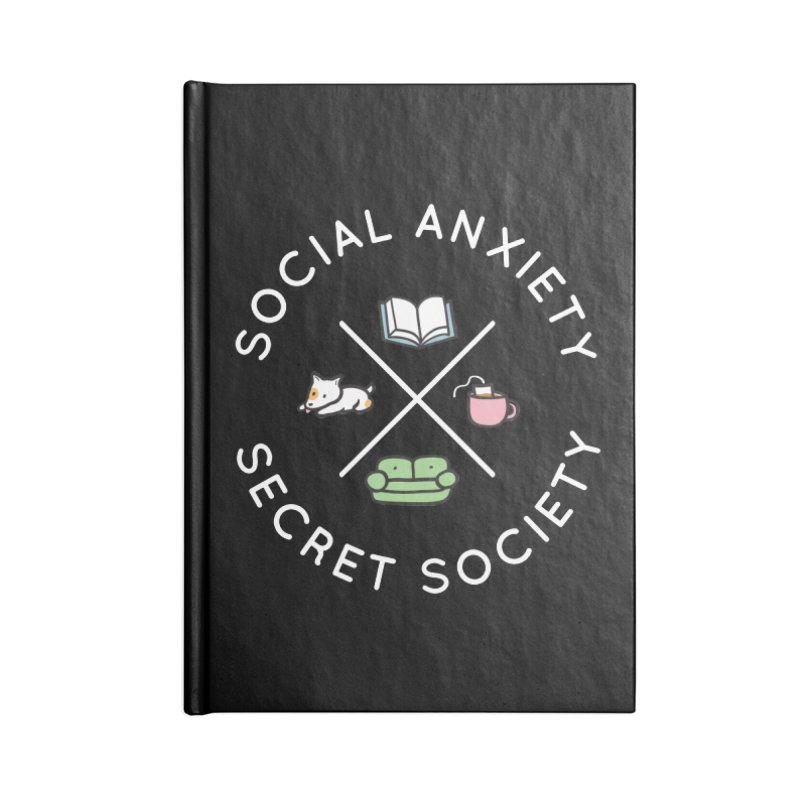 Social Anxiety Secret Society (Doggo) Accessories Lined Journal Notebook by agrimony // Aaron Thong