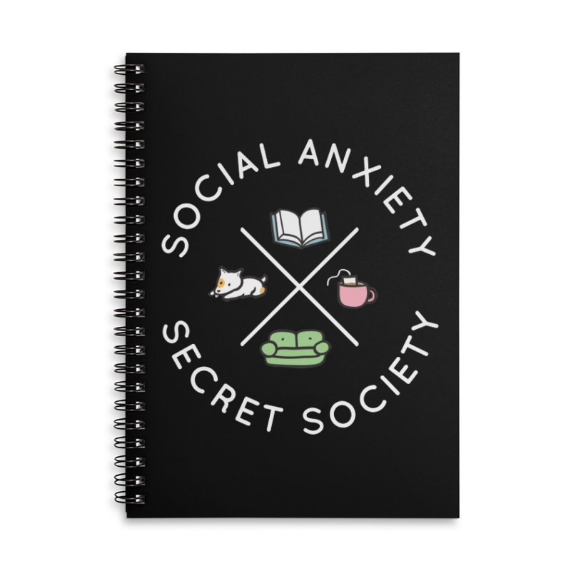 Social Anxiety Secret Society (Doggo) Accessories Lined Spiral Notebook by agrimony // Aaron Thong