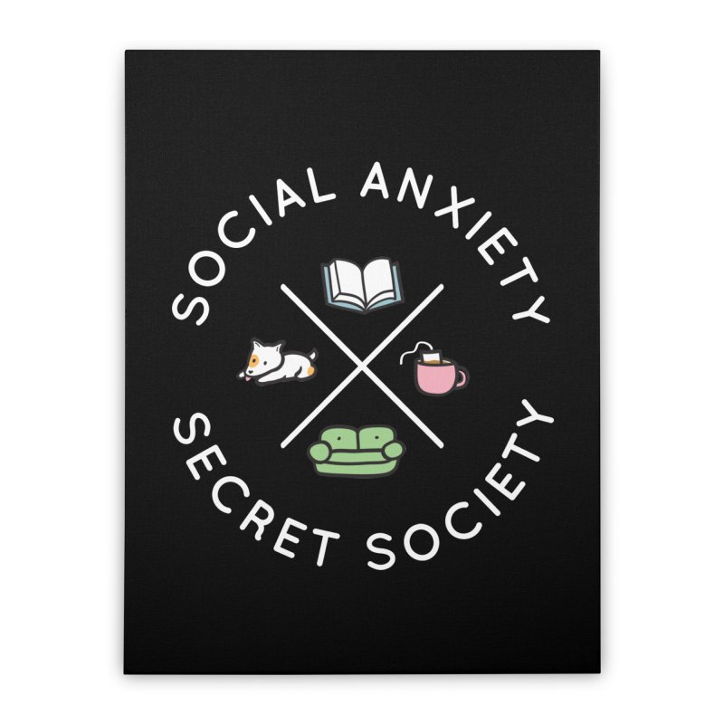 Social Anxiety Secret Society (Doggo) Home Stretched Canvas by agrimony // Aaron Thong