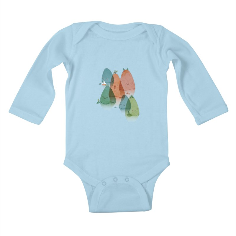 Find Your Happy Place Kids Baby Longsleeve Bodysuit by agrimony // Aaron Thong