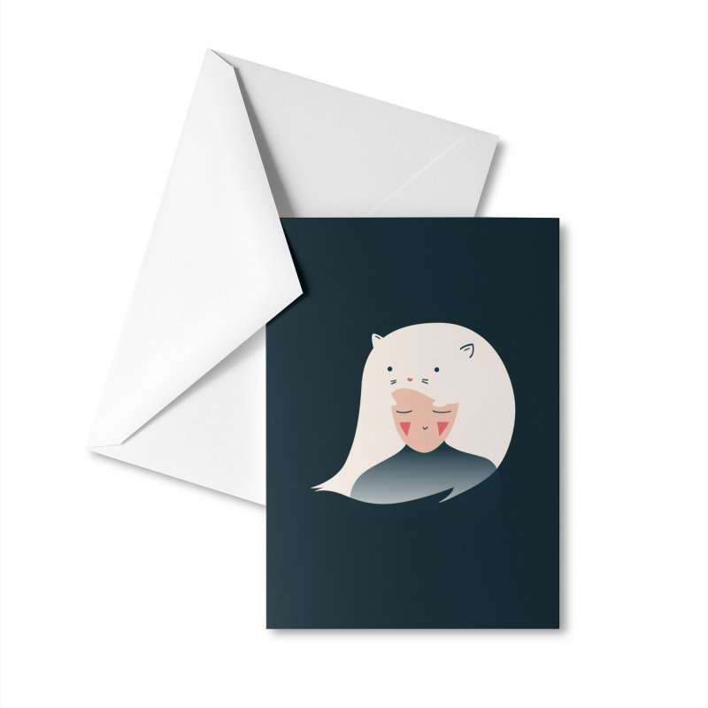 Cat in the Hairt Accessories Greeting Card by agrimony // Aaron Thong