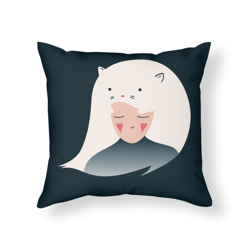 Cat in the Hairt Home Throw Pillow by agrimony // Aaron Thong