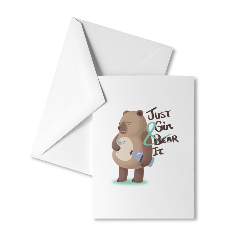 Just Gin and Bear it Accessories Greeting Card by agrimony // Aaron Thong