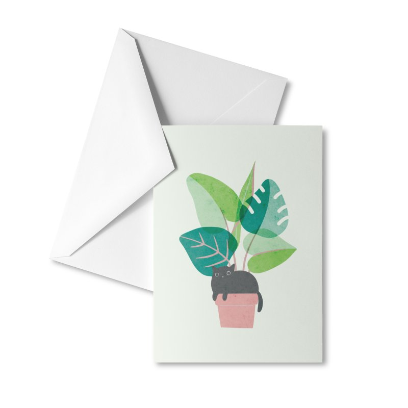 Monstera Kitty Accessories Greeting Card by agrimony // Aaron Thong