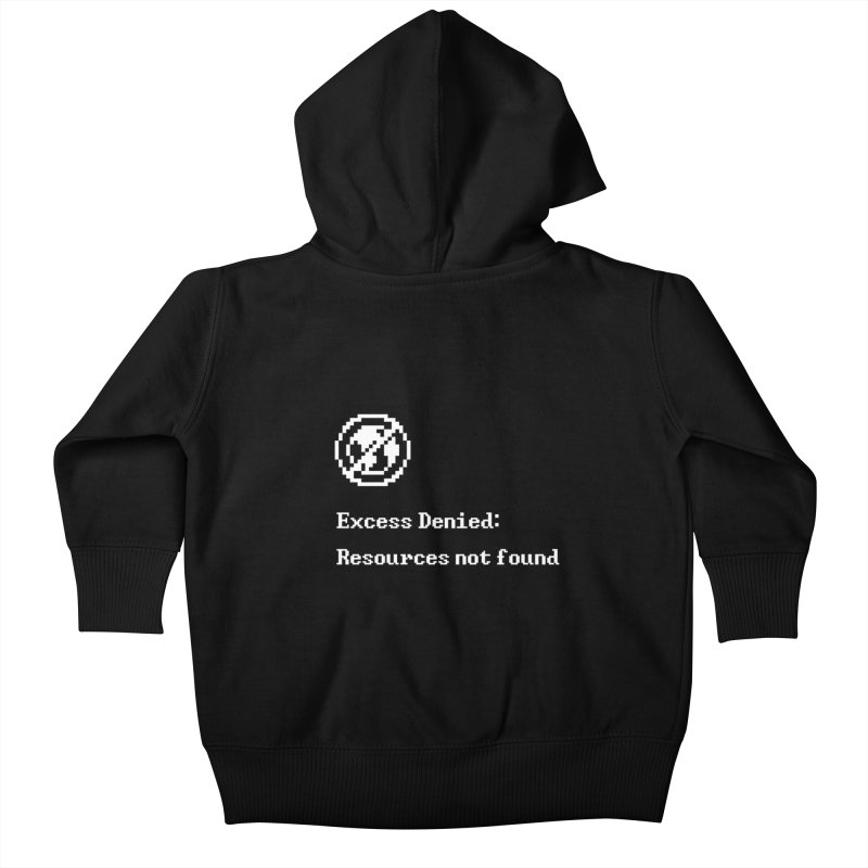 Excess Denied - Black Kids Baby Zip-Up Hoody by agrimony // Aaron Thong