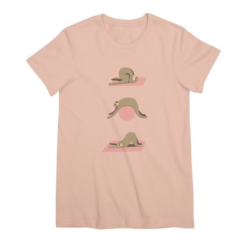 Sloth Pilates Women's Premium T-Shirt by agrimony // Aaron Thong