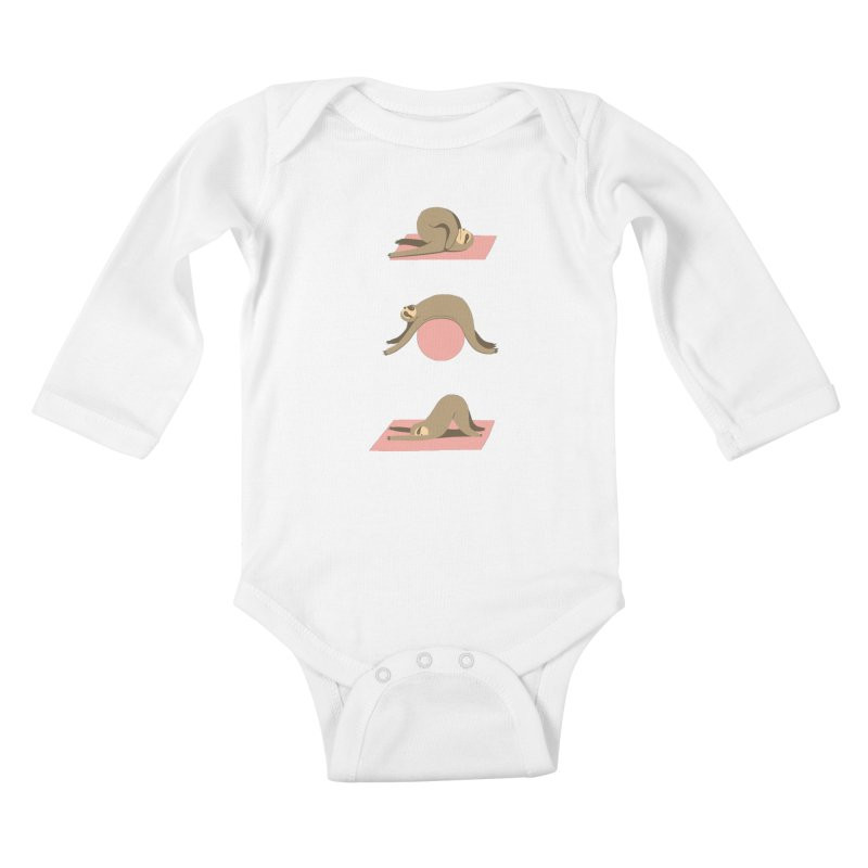 Sloth Pilates Kids Baby Longsleeve Bodysuit by agrimony // Aaron Thong