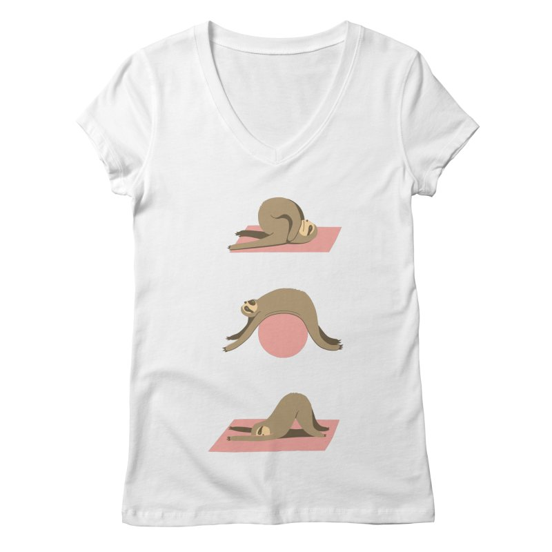 Sloth Pilates Women's V-Neck by agrimony // Aaron Thong