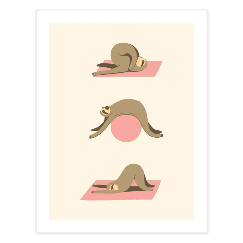 Sloth Pilates Home Fine Art Print by agrimony // Aaron Thong