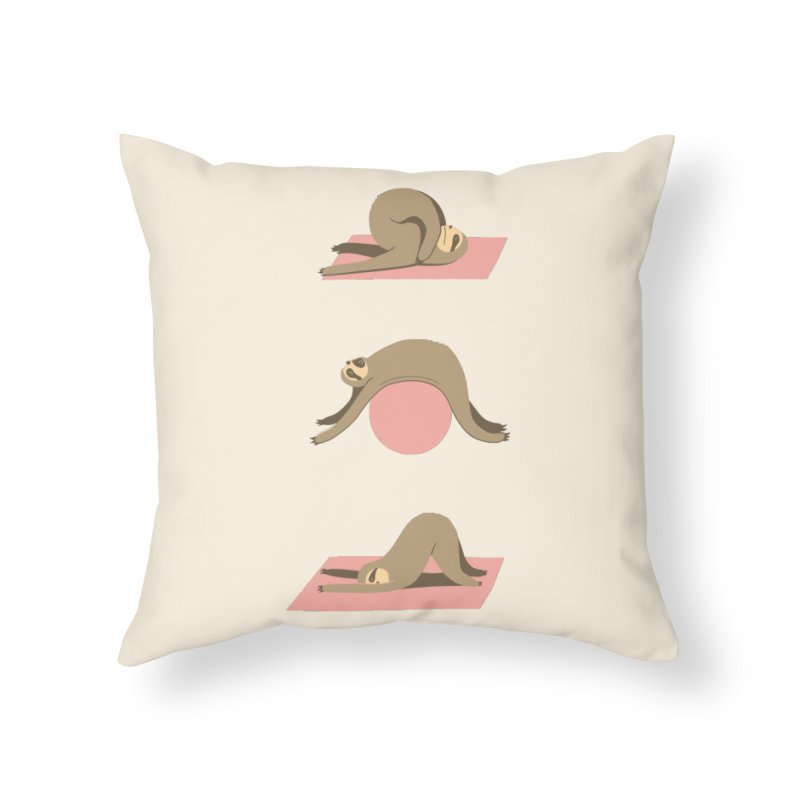 Sloth Pilates Home Throw Pillow by agrimony // Aaron Thong