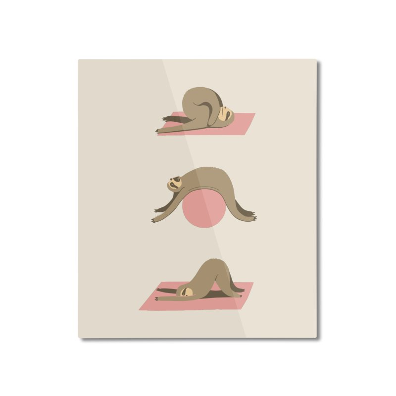 Sloth Pilates Home Mounted Aluminum Print by agrimony // Aaron Thong