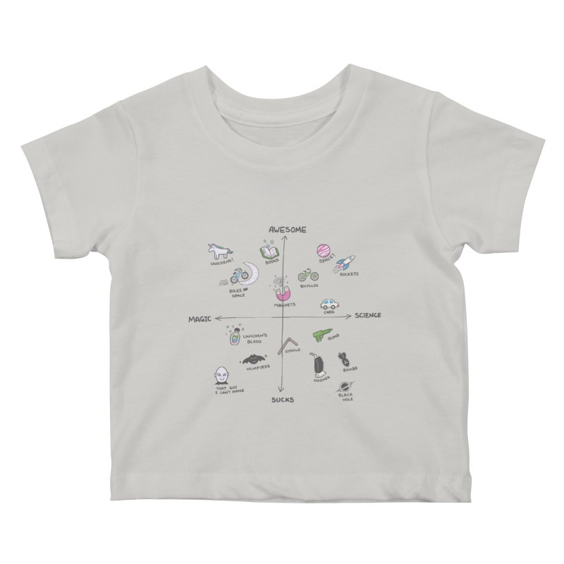 Science vs Magic Kids Baby T-Shirt by agrimony // Aaron Thong