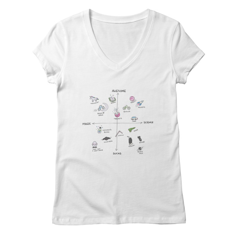Science vs Magic Women's V-Neck by agrimony // Aaron Thong