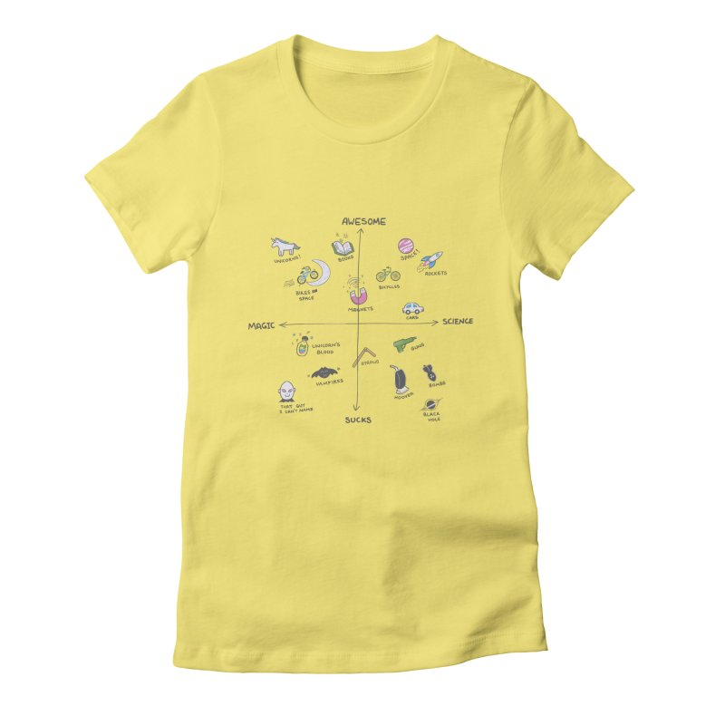 Science vs Magic Women's Fitted T-Shirt by agrimony // Aaron Thong