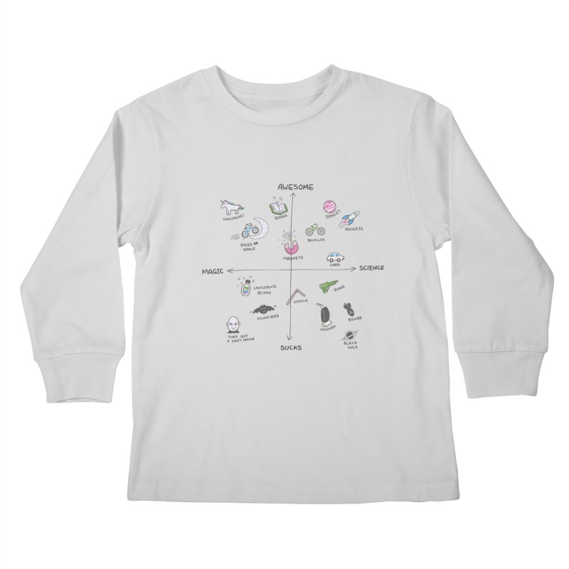 Science vs Magic Kids Longsleeve T-Shirt by agrimony // Aaron Thong