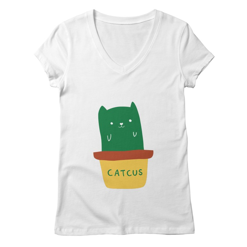 Catcus Women's V-Neck by agrimony // Aaron Thong