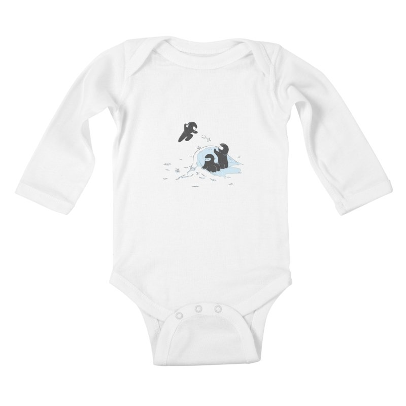 Ninjas don't camoflage well in winter Kids Baby Longsleeve Bodysuit by agrimony // Aaron Thong