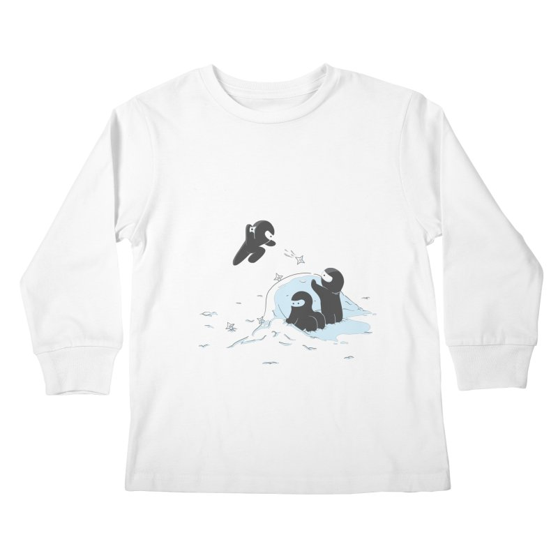 Ninjas don't camoflage well in winter Kids Longsleeve T-Shirt by agrimony // Aaron Thong