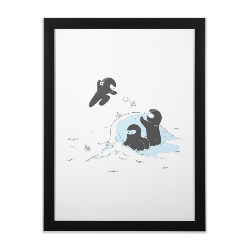 Ninjas don't camoflage well in winter Home Framed Fine Art Print by agrimony // Aaron Thong