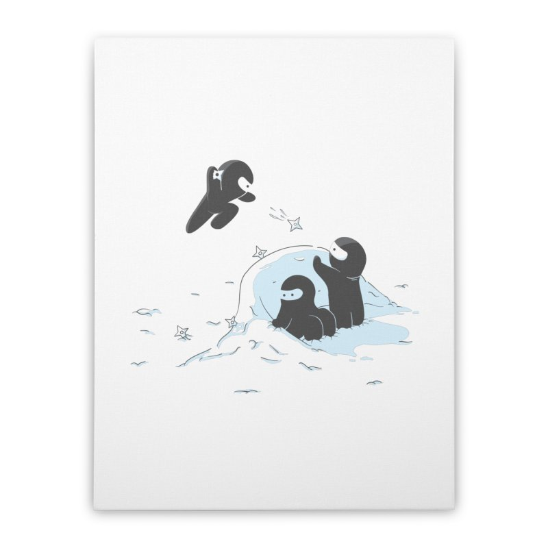 Ninjas don't camoflage well in winter Home Stretched Canvas by agrimony // Aaron Thong